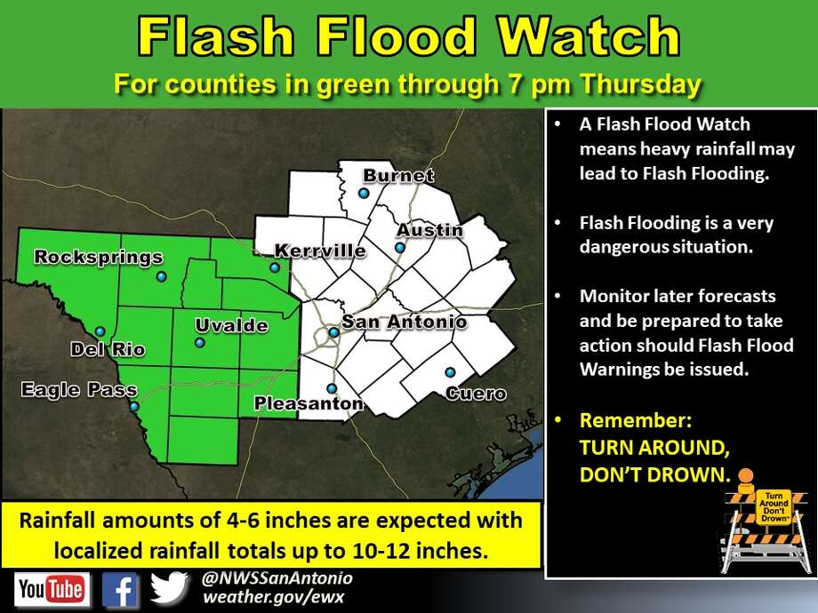 The National Weather Service issued a flash flood watch for areas west of San Antonio Monday Sept. 25, 2017, through Thursday at 7 p.m. Photo: National Weather Service