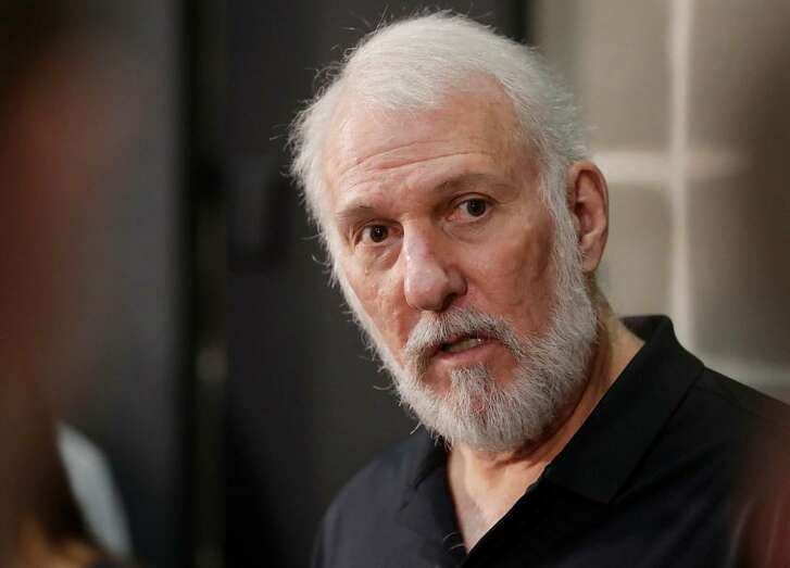 San Antonio Spurs head coach Gregg Popovich answered questions during media day at the team's practice facility, Monday, Sept. 25, 2017, in San Antonio.