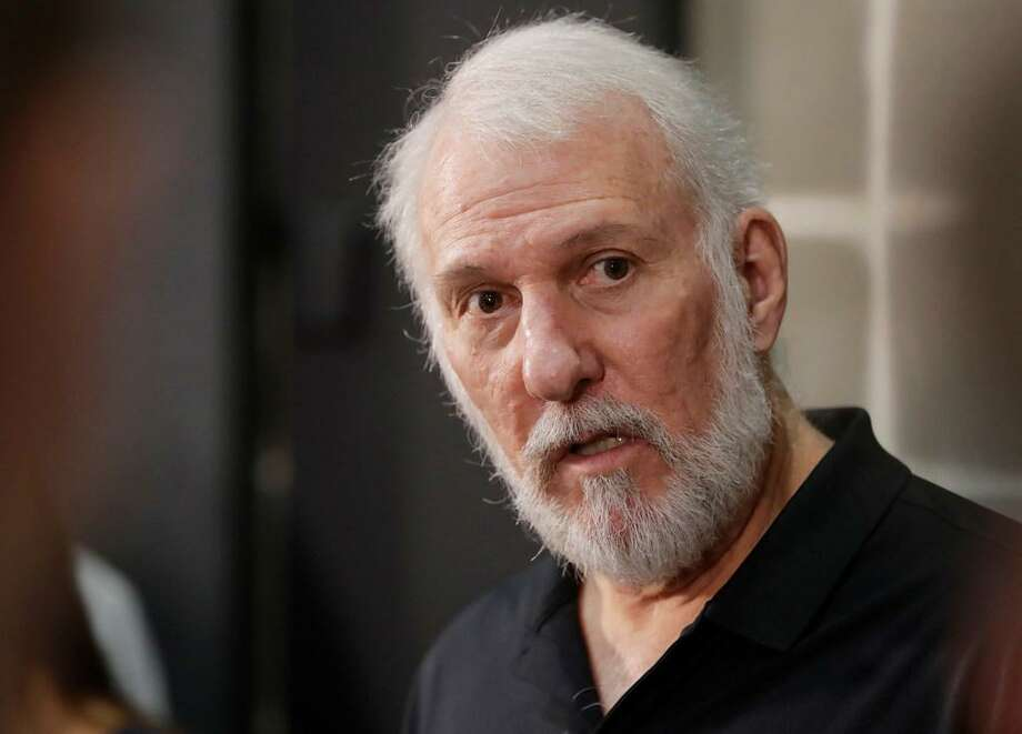 San Antonio Spurs head coach Gregg Popovich answered questions during media day at the team's practice facility, Monday, Sept. 25, 2017, in San Antonio. Photo: Eric Gay) /AP Photo