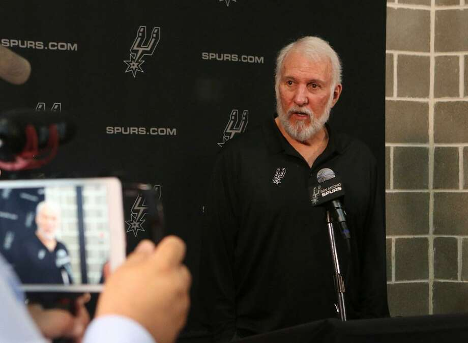 San Antonio Spurs coach Gregg Popovich speaks during a press conference during Spurs media day Monday September 25, 2017. Photo: John Davenport /Express-News