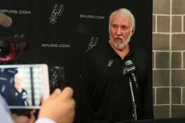 San Antonio Spurs coach Gregg Popovich speaks during a press conference during Spurs media day Monday September 25, 2017.