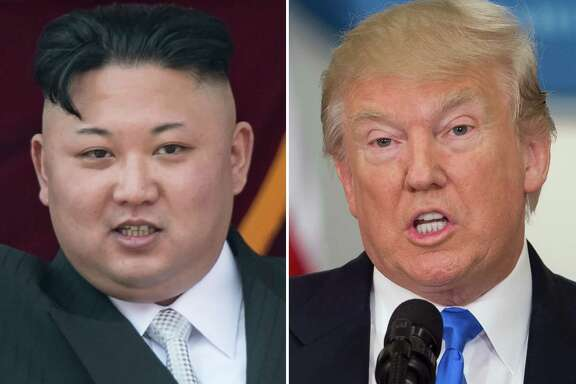 """(FILES)(COMBO) This combo of file photos shows an image (L) taken on April 15, 2017 of  North Korean leader Kim Jong-Un on a balcony of the Grand People's Study House following a military parade in Pyongyang; and an image (R) taken on July 19, 2017 of US President Donald Trump speaking during the first meeting of the Presidential Advisory Commission on Election Integrity in Washington, DC. An escalating war of words between Donald Trump and Kim Jong-Un ratcheted up a notch on September 22, 2017 as the US president dubbed North Korea's leader a """"madman,"""" a day after the reclusive regime hinted it may explode a hydrogen bomb over the Pacific Ocean. Hours earlier, in a rare personal attack, Kim took aim at Trump, branding him """"mentally deranged"""" and warning he would """"pay dearly"""" for his threat to destroy North Korea if challenged, uttered before the United Nations General Assembly.  / AFP PHOTO / SAUL LOEB AND Ed JONESSAUL LOEB,ED JONES/AFP/Getty Images"""
