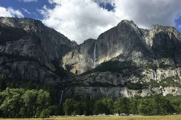 "Yosemite Falls got extra pizzazz in September after rain and snowfall fed into Yosemite Creek. Yosemite National Park shared on Facebook: ""As these falls are typically dry this time of year, it's pretty exciting to see them thrive!"""