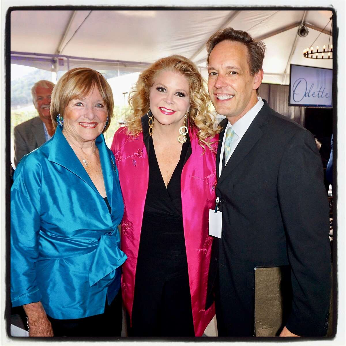 Opera singers Frederica von Stade and Susan Graham (at left) with composer Jake Heggie at Odette Winery for the Arts+Earth Initiative fundraiser. Sept. 16, 2017.