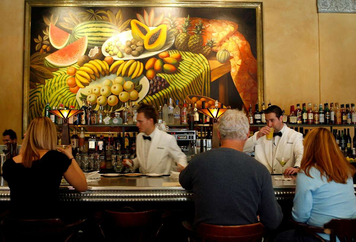 The bar scene in Scala's Bistro at the Sir Francis Drake Hotel in San Francisco, Calif. on Saturday, Nov. 18, 2006. PAUL CHINN/The Chronicle