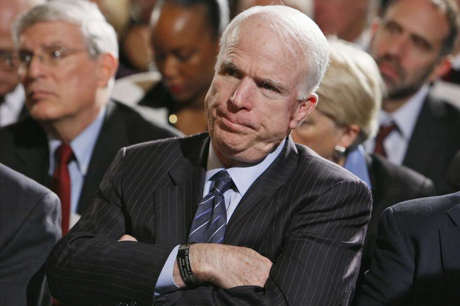 FILE - In this Feb. 23, 2009, file photo, Sen. John McCain, R-Ariz. listens during remarks of the Fiscal Responsibility Summit, hosted by President Barack Obama in the East Room of the White House in Washington. Longtime friends and advisers of McCain say they�re not surprised by his decision in September 2017 to oppose a last-ditch Republican effort to overhaul the nation�s health care law. McCain objected to the legislation in part because Senate GOP leaders wanted a vote without holding hearings or debate.(AP Photo/Charles Dharapak, file)
