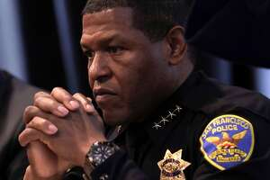 "San Francisco's Chief of Police William ""Bill"" Scott as he holds a town hall, on Wednesday May 10, 2017, to discuss last week's fatal police shooting of a 26-year-old stabbing suspect along Market St. in downtown San Francisco, Ca."
