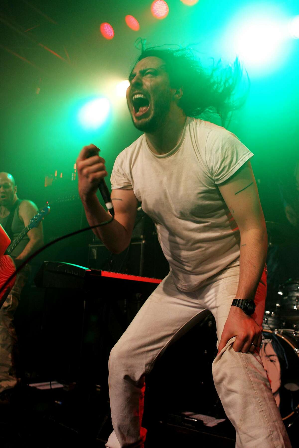 Andrew W.K. performs on stage at Kings College London Student Union on August 2, 2012 in London, United Kingdom. (Photo by Burak Cingi/Redferns via Getty Images)
