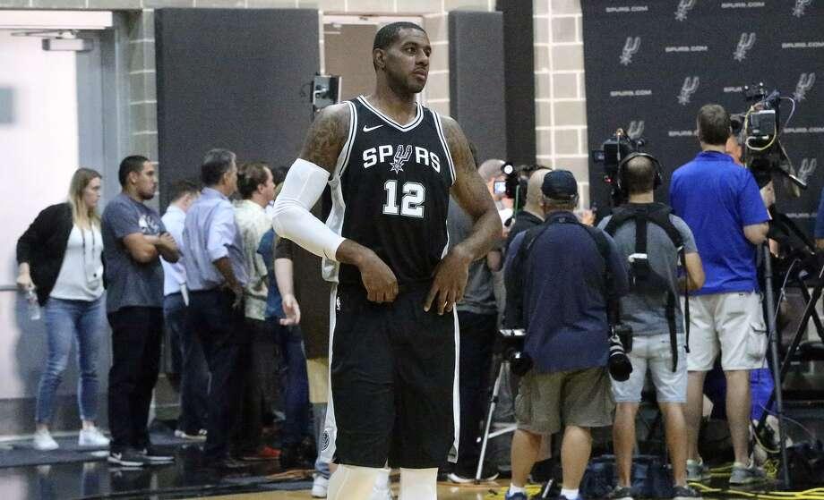 San Antonio Spurs forward LaMarcus Aldridge (#12) walks in at Spurs media day Monday September 25, 2017. Photo: John Davenport, STAFF / San Antonio Express-News / ©John Davenport/San Antonio Express-News