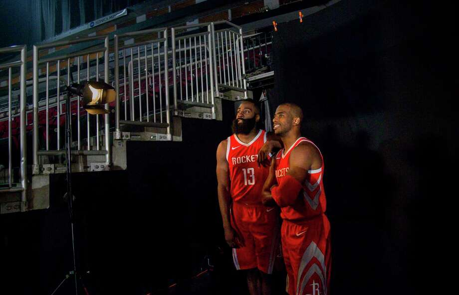 Rockets guards James Harden (13) and Chris Paul did plenty of smiling for the camera during media day Monday. Photo: Jon Shapley, Houston Chronicle / © 2017 Houston Chronicle