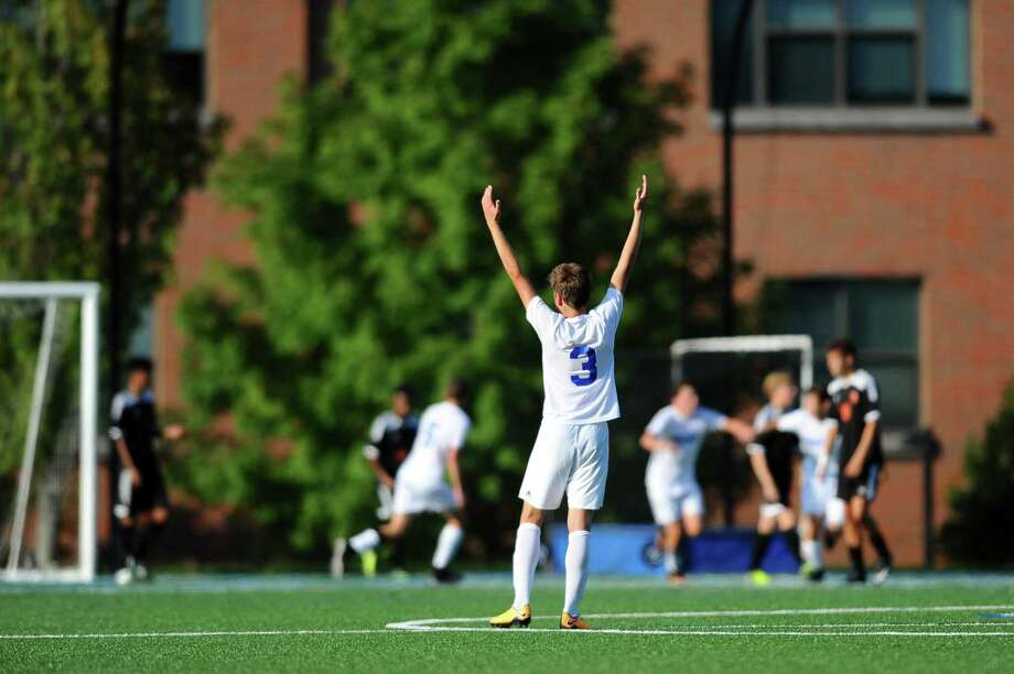Darien High School sophomore Elias Vetter celebrates Darien's first goal during the boys varsity soccer gameagainst Stamford High School at Darien High School in Darien, Conn. on Monday, Sept. 25, 2017. Photo: Michael Cummo / Hearst Connecticut Media / Stamford Advocate
