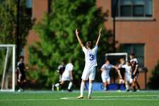 Darien High School sophomore Elias Vetter celebrates Darien's first goal during the boys varsity soccer gameagainst Stamford High School at Darien High School in Darien, Conn. on Monday, Sept. 25, 2017.