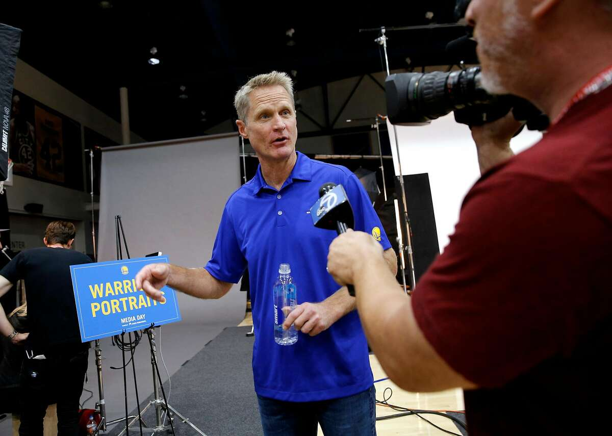 Warriors' head coach Steve Kerr during 2017 media day for the NBA's Golden State Warriors in Oakland, Ca., on Friday September 22, 2017.