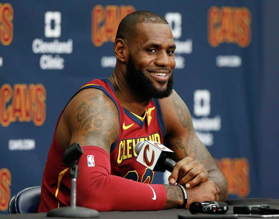 Cleveland Cavaliers' LeBron James answers questions during the NBA basketball team media day, Monday, Sept. 25, 2017, in Independence, Ohio. (AP Photo/Ron Schwane) ORG XMIT: OHRS102 Photo: Ron Schwane / AP 2017