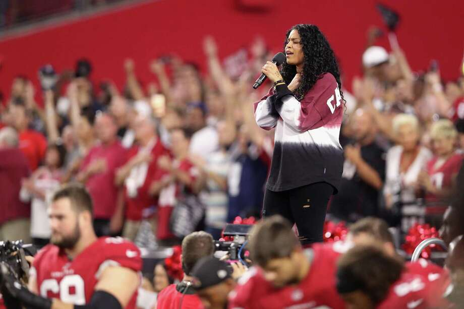 Singer Jordin Sparks performs the National Anthem before the start of the the NFL game between the Arizona Cardinals and the Dallas Cowboys at the University of Phoenix Stadium on September 25, 2017 in Glendale, Arizona. Photo: Christian Petersen /Getty Images / 2017 Getty Images