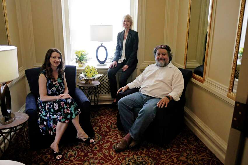 Erin Sinisgalli, left, Director, Community Health Programs, St. PeterOs Health Partners, Holly Brown, center, Executive Director, Palace Theatre, and Philip Morris, CEO, Proctors, pose for a photo inside the newly unveiled lactation lounge at Proctors on Monday, Sept. 18, 2017, in Schenectady, N.Y. St. PeterOs Health Partners joined with Proctors and the Palace Theatre to announce the new lactation lounges for the patrons at the two theaters. Philip Morris said that the Proctors lactation lounge will also be available for the general public to use also by just going to the box office and requesting access to the lounge. (Paul Buckowski / Times Union)