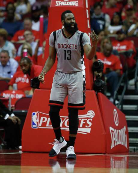 James Harden feels that the frustration he showed in last season's finale would not have boiled over had Chris Paul been with the Rockets. Photo: Karen Warren, Staff Photographer / Stratford Booster Club