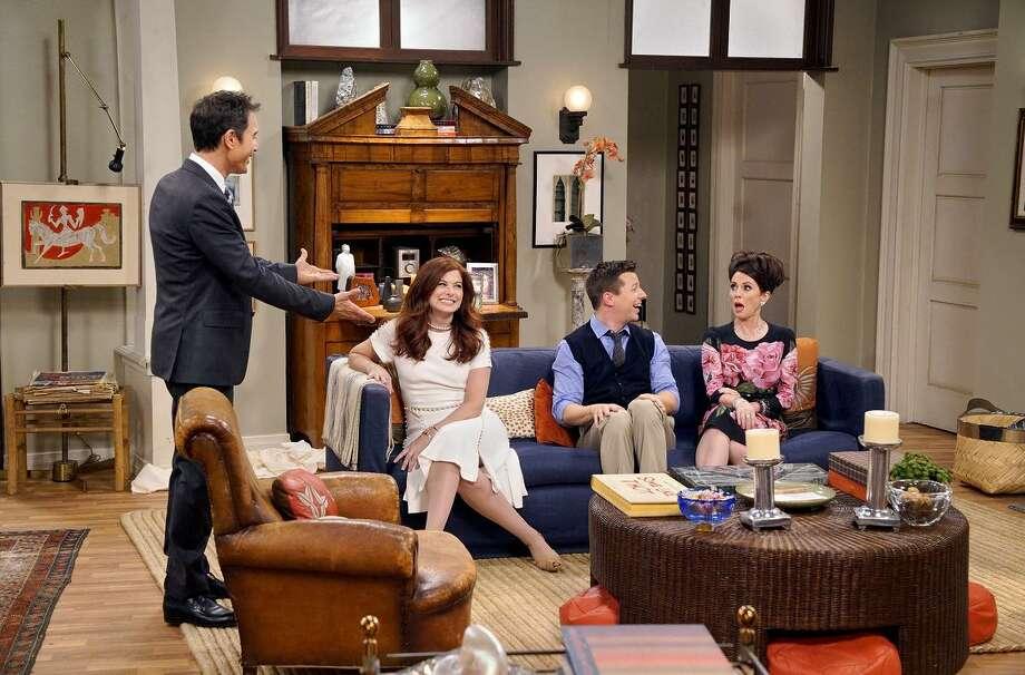 Returned: Eric McCormack (left) as Will Truman, Debra Messing as Grace Adler, Sean Hayes as Jack McFarland, Megan Mullally as Karen Walker. Photo: NBC / Chris Haston / NBC / 2017 NBCUniversal Media, LLC