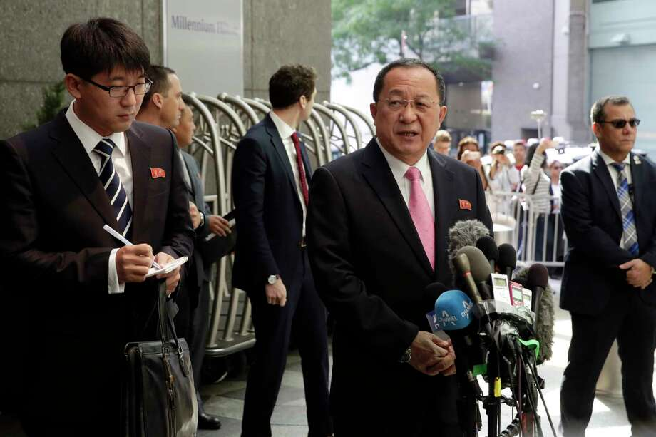 North Korea's Foreign Minister Ri Yong Ho, center, says his country has every right to defend itself. Photo: Richard Drew, STF / AP