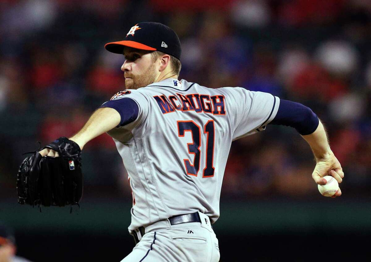 Houston Astros starting pitcher Collin McHugh works the fourth inning of a baseball game against the Texas Rangers on Monday, Sept. 25, 2017, in Arlington, Texas. (AP Photo/Richard W. Rodriguez)