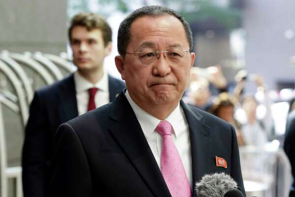 North Korea's Foreign Minister Ri Yong Ho speaks outside the U.N. Plaza Hotel, in New York, Monday, Sept. 25, 2017. (AP Photo/Richard Drew) ORG XMIT: NYRD107