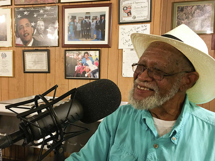 Felix Powell, owner of Powell Bar-B-Q, 4101 Clover St. in Houston, August 24, 2017 recording an episode of BBQ State of Mind.