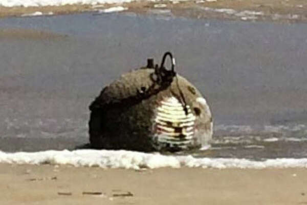 An apparent piece of World War II ordnance washed up on North Carolina's Outer Banks amid heavy swells from Hurricane Maria lurking offshore, authorities reported on Monday, Sept. 26, 2017. The unexploded device was found on a beach at Cape Hatteras National Seashore in Avon.