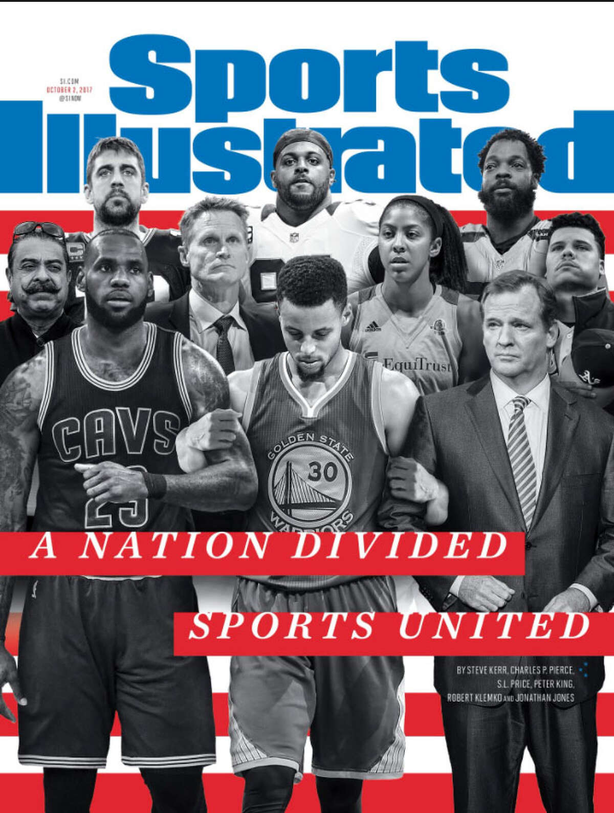 PHOTOS: A closer look at each player on the upcoming Sports Illustrated cover The Sports Illustrated cover for Oct. 2, 2017, features several prominent sports figures involved in the recent mix between sports and politics. Browse through the photos to see each person on the upcoming Sports Illustrated cover and why they made the cut.