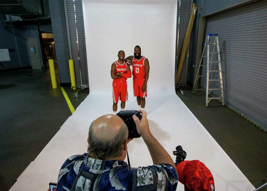 PHOTOS: Behind the scenes at Rockets Media DayHouston Rockets guards Chris Paul (3) and James Harden (3) pose for a photo during Houston Rockets media day at the Toyota Center Monday, Sept. 25, 2017, in Houston. Photo: Jon Shapley, Houston Chronicle / © 2017 Houston Chronicle
