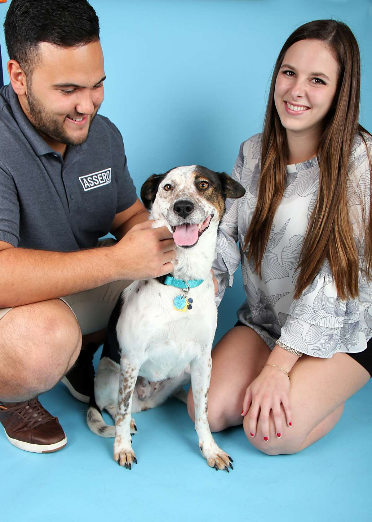 After being abandoned on the side of the road in Dallas, adorable pooch KD was adopted by Zachary San Romano and Reagan Henderson.