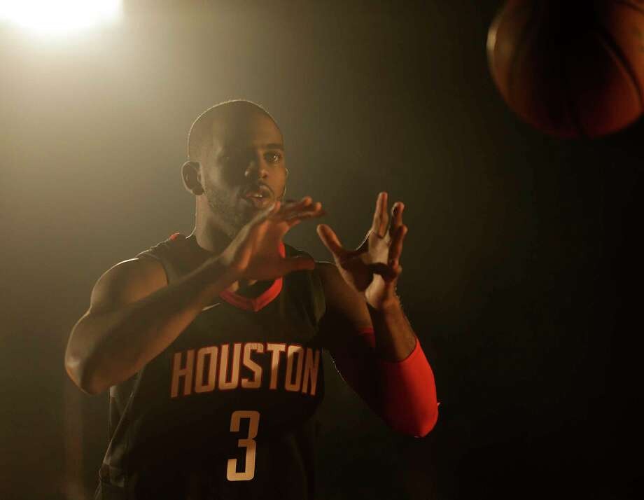 """Rocket's Chris Paul (3) said it was fun to """"get up and down the court"""" during Sunday's long practice. Photo: Elizabeth Conley, Houston Chronicle / © 2017 Houston Chronicle"""