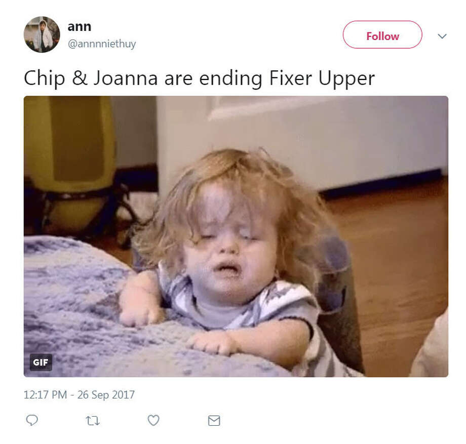 "HGTV's hit show ""Fixer Upper"" is coming to an end and the internet is losing its mind. Photo: Twitter"