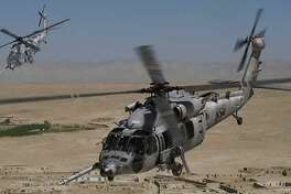 An artist rendering of the HH-60W Combat Rescue Helicopter being developed by Sikorsky Aircraft and parent Lockheed Martin for the U.S. Air Force. On Sept. 25, 2017, Aviation Week reported Stratford-based Sikorsky has begun assembly of the initial prototype. (Rendering via Lockheed Martin)