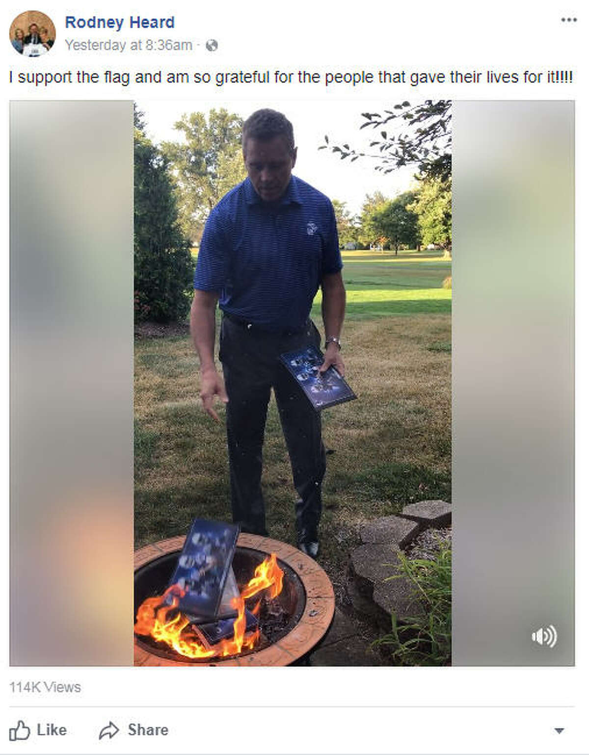 Colts fan and Marine Rodney Heard burned his season tickets on Facebook Live following the Colts national anthem protest on Sept. 24, 2017.Image source: Facebook