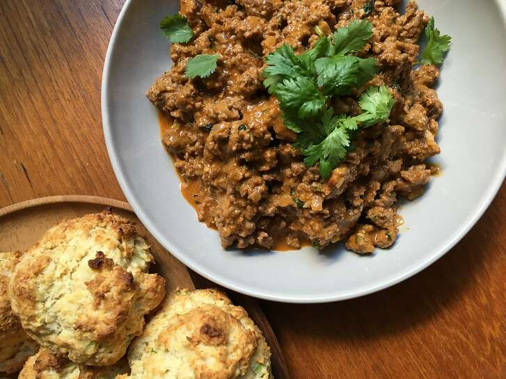 Jessica Battulana's Curried Sloppy Joe�s with Coconut-Green Onion Biscuits are seen on Saturday, Sept. 23, 2017 in ,