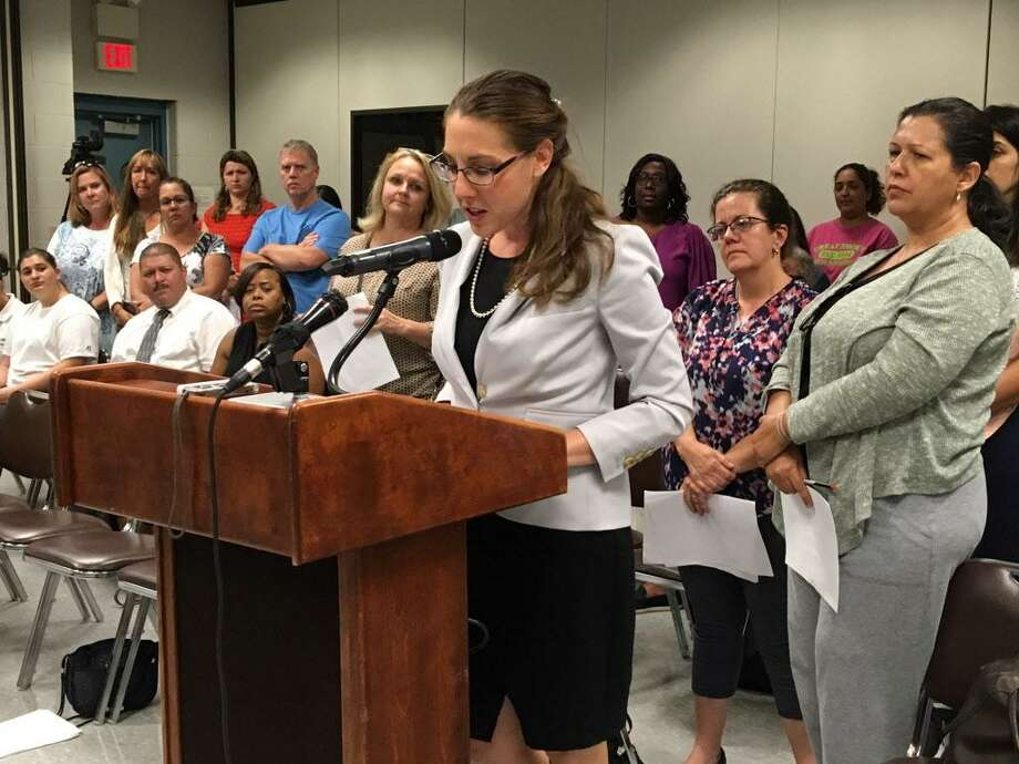 Bridgeport magnet school parents address the school board. Sept. 25, 2017 Photo: Linda Conner Lambeck / Linda Conner Lambeck