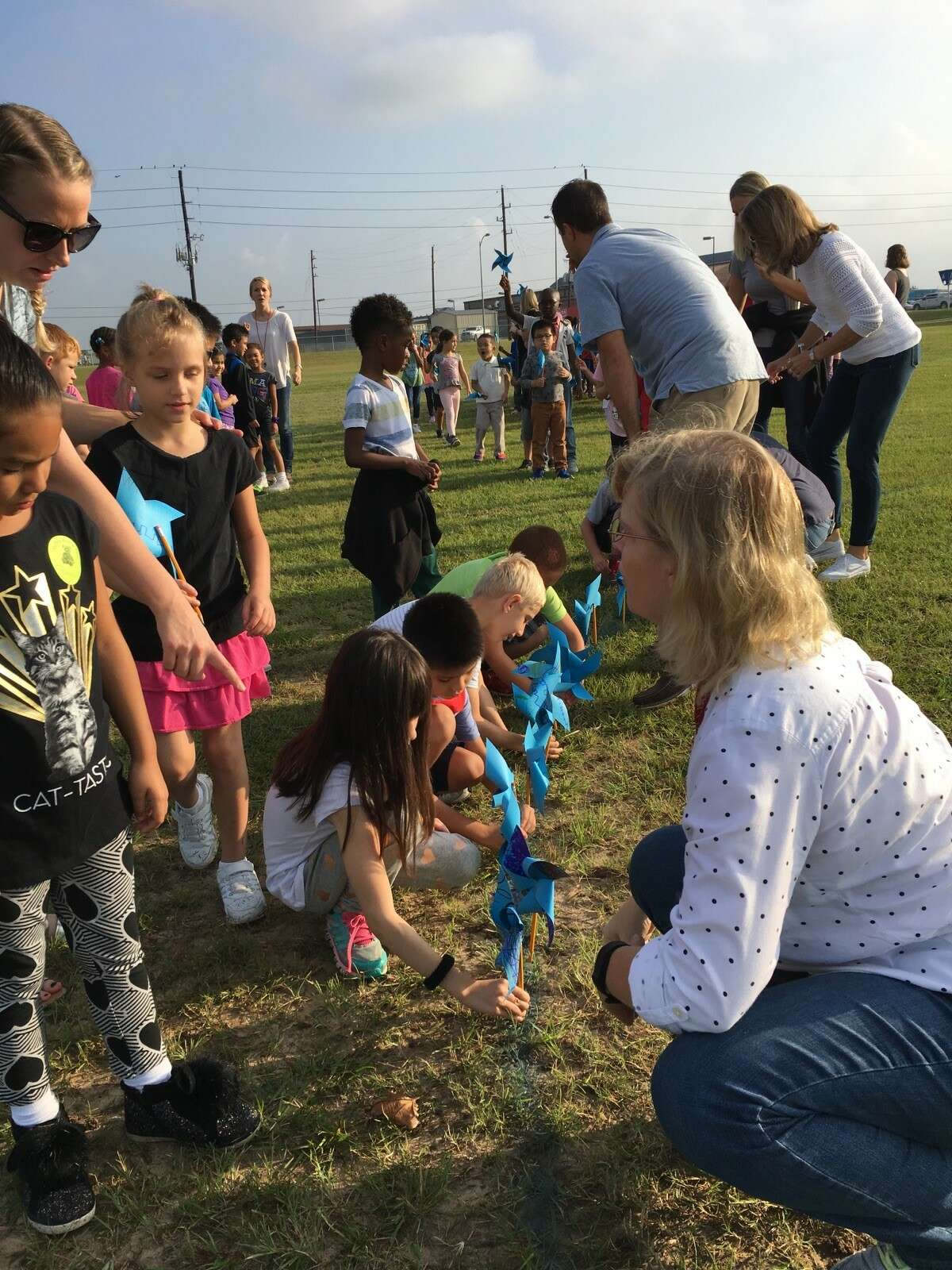 Students and staff at Golbow Elementary started placing pinwheels in the back field at 8:30 a.m. Sept. 21 for their annual