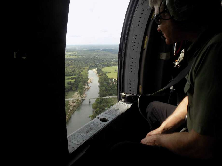 Congressman Michael McCaul, R-Texas, took an aerial tour Sept. 18 of flooded Houston areas including Cypress Creek, the Addicks and Barker reservoirs and the Buffalo Bayou. Photo: Lizzie Litzow
