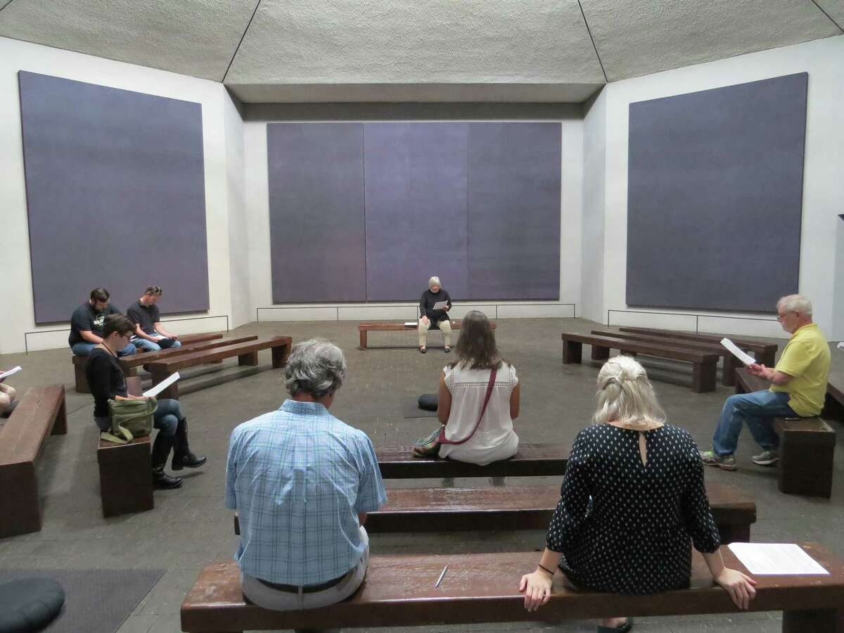 Rev. Lisa Hunt from St. Stephen's Episcopal Church lead the community in community dialogue, meditation and prayer as a part of Rothko Chapel's Healing in Community after Hurricane Harvey series.