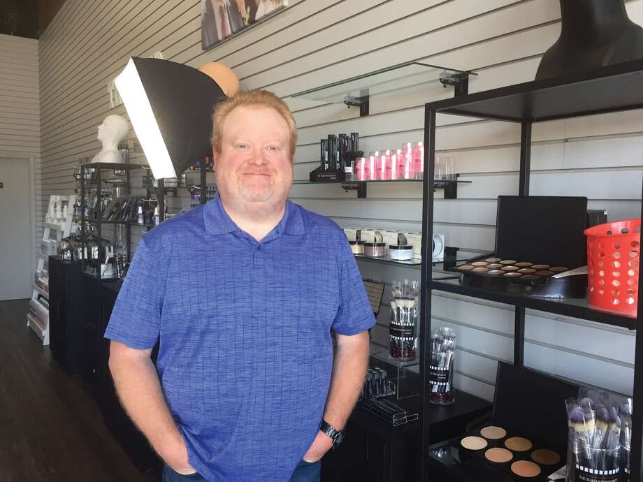 Edwardsville native Jeff Lewis in his shop, The Makeup Academy & Department, on Century Drive. Photo: Julia Biggs • Jbiggs.edwi@gmail.com