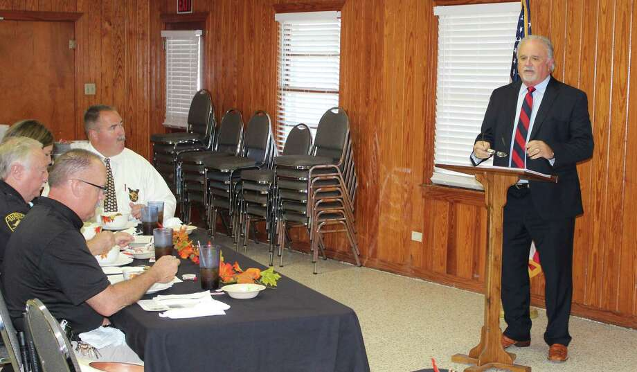 Coldspring-Oakhurst CISD Superintendent Dr. Leland Myers discusses updates to the school district and the upcoming bond election during the Coldspring/San Jacinto County Chamber luncheon on Sept. 19 at the Coldspring Community Center. Photo: Jacob McAdams
