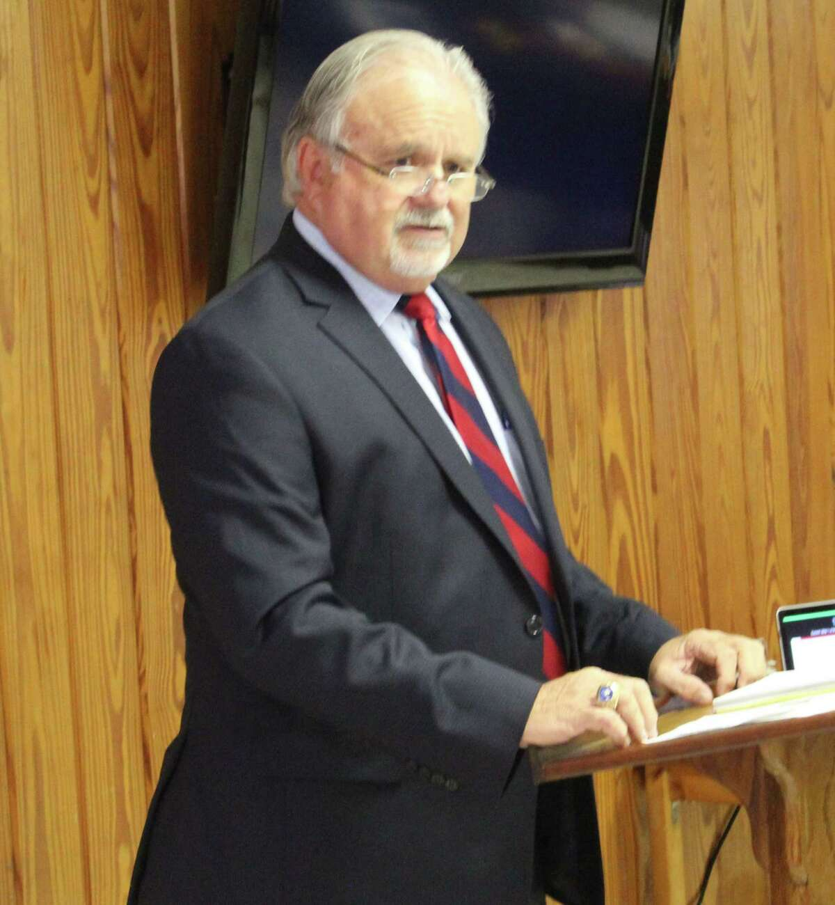 Coldspring-Oakhurst CISD Superintendent Dr. Leland Myers discusses updates to the school district and the upcoming bond election during the Coldspring/San Jacinto County Chamber luncheon on Sept. 19 at the Coldspring Community Center.