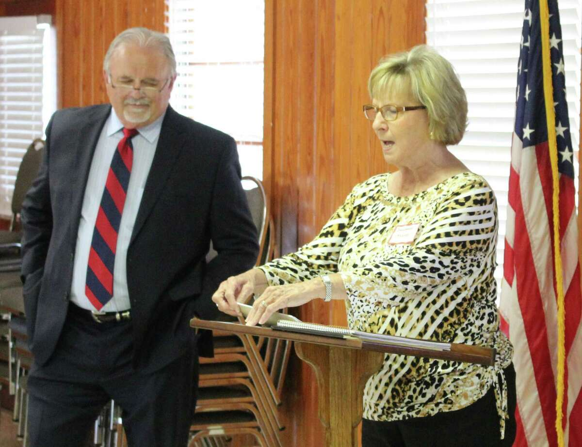Coldspring-Oakhurst CISD Board President Barbara Moore (right) discusses the upcoming bond election and how it can impact the school district.