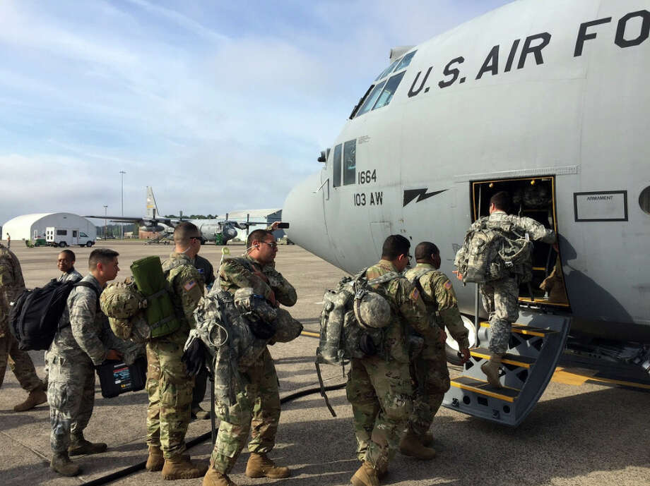 A crew of thirteen Guardsmen from the Connecticut National Guard departed Bradley Air National Guard Base in East Granby on a C-130H cargo plane on Tuesday morning and are headed to Puerto Rico, where they will assist local government authorities in establishing and maintaining urgently needed communications equipment that will be used in the ongoing recovery and response efforts. Photo: Contributed Photo / Connecticut Post Contributed