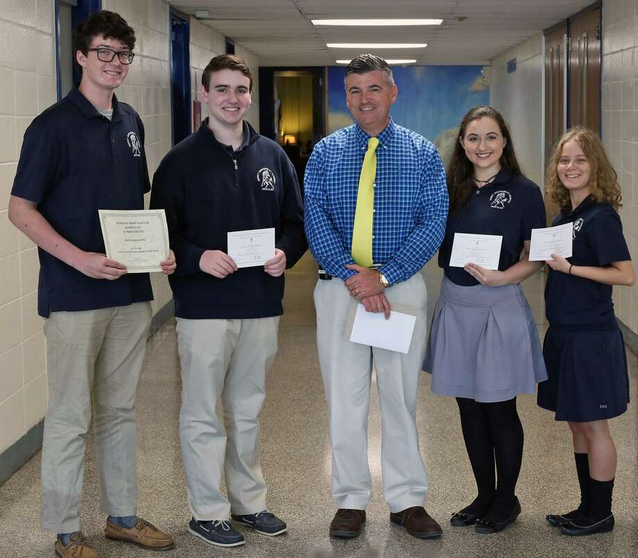 From left, John Palladino, Kevin McCoy, Immaculate High School Principal Patrick Higgins, Marina Kolitsas and Nicole Palmieri. Photo: / Submitted Photo