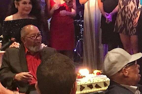 Rev. Cecil Williams, with Janice Mirikitani at Williams' 88th birthday celebration