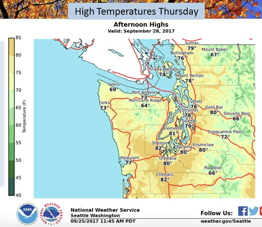 Seattle may see the last gasp of summer this week, with highs up to 80 degrees Thursday. Photo: National Weather Service