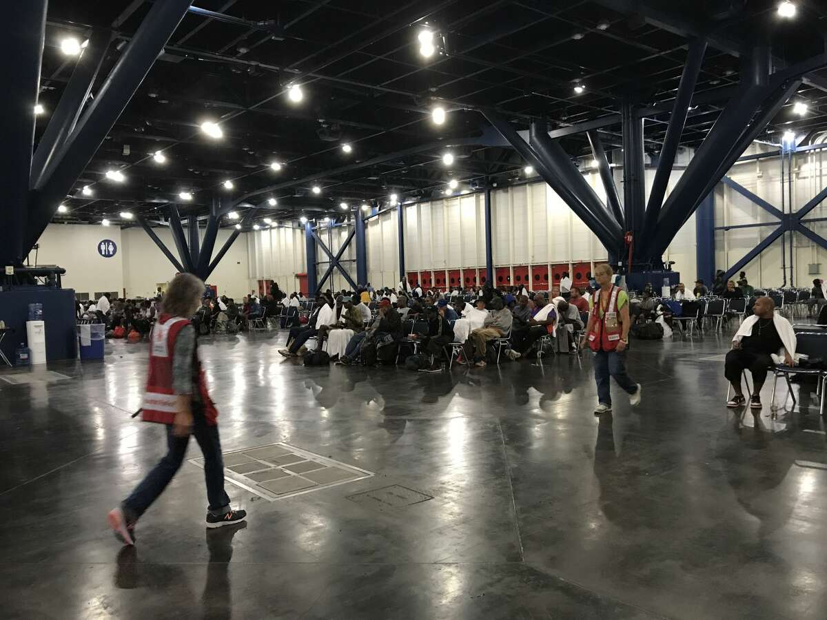 People seeking shelter from Hurricane Harvey at the George R. Brown Convention Center on Sunday, August 27, 2017. (Elizabeth Conley/Houston Chronicle)