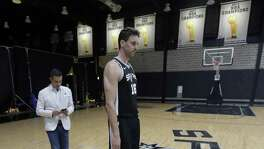 San Antonio Spurs center Pau Gasol (16) takes part in media day at the team's facility, Monday, Sept. 25, 2017, in San Antonio.