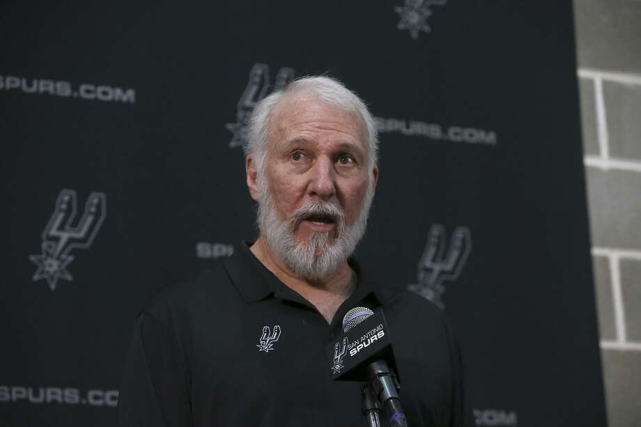 San Antonio Spurs coach Gregg Popovich speaks during a press conference during Spurs media day Monday September 25, 2017. Photo: John Davenport /San Antonio Express-News